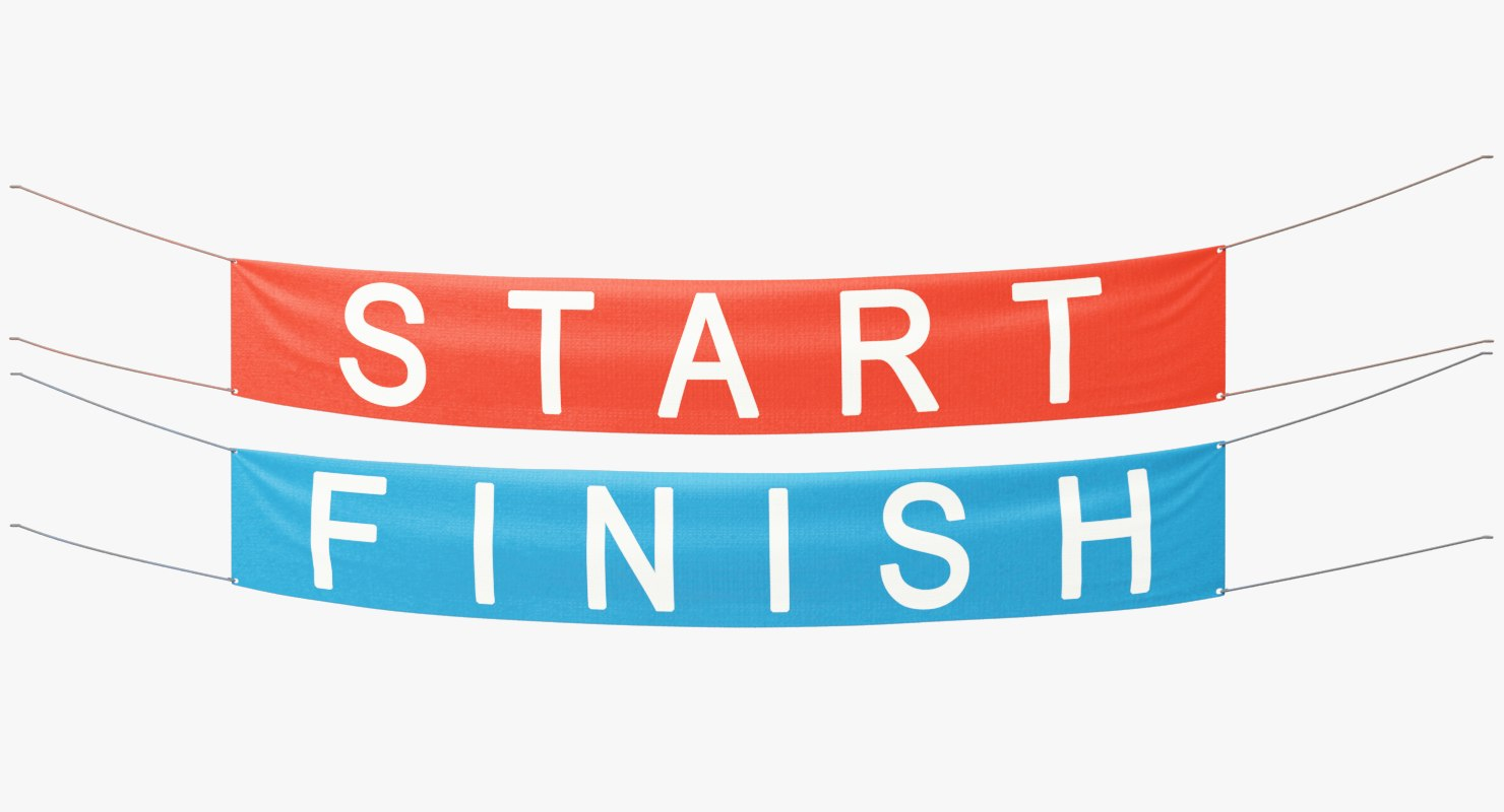 start finish banners 3D