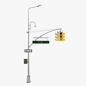 3D model street light traffic