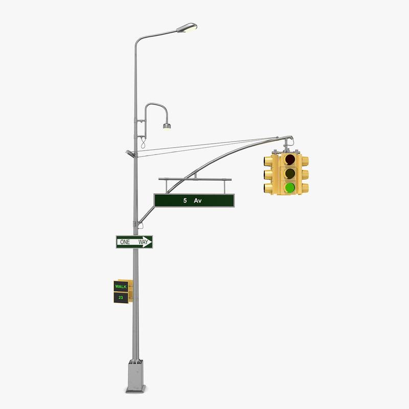 3D model street light traffic