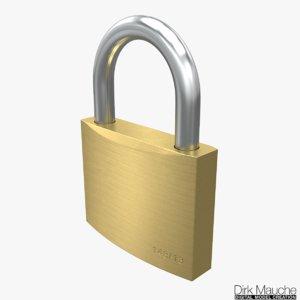 3D brass padlock