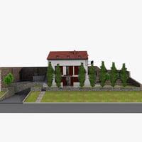 family house garden 3D model