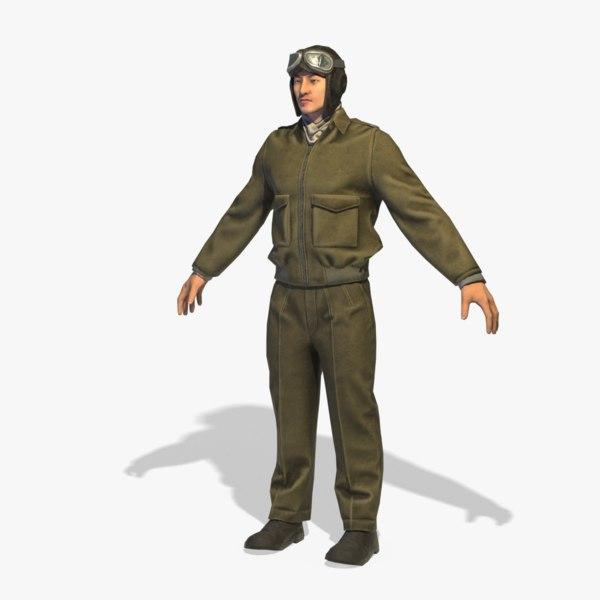 3D world war pilot rigged model