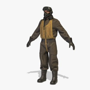 world war pilot rigged 3D model