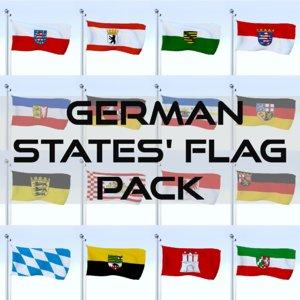 pack flags german 3D model