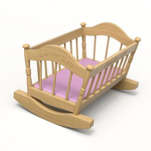 cradle wood wooden 3D model