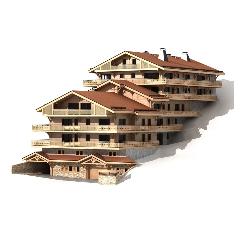 3D model chalet classic wooden mountain