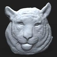 3D tiger bas relief