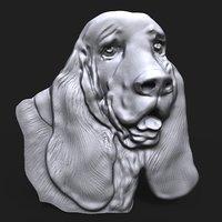 Basset Hound Dog head bas relief