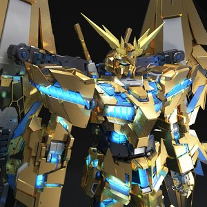 3D model gundam unicorn phenex