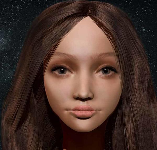 3D woman head zbrush