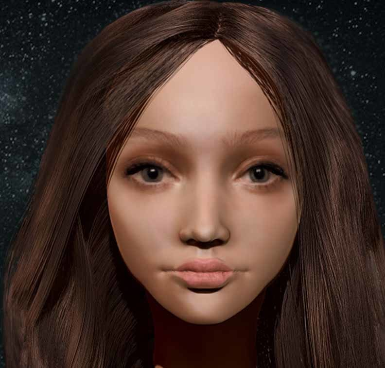 3D woman head zbrush