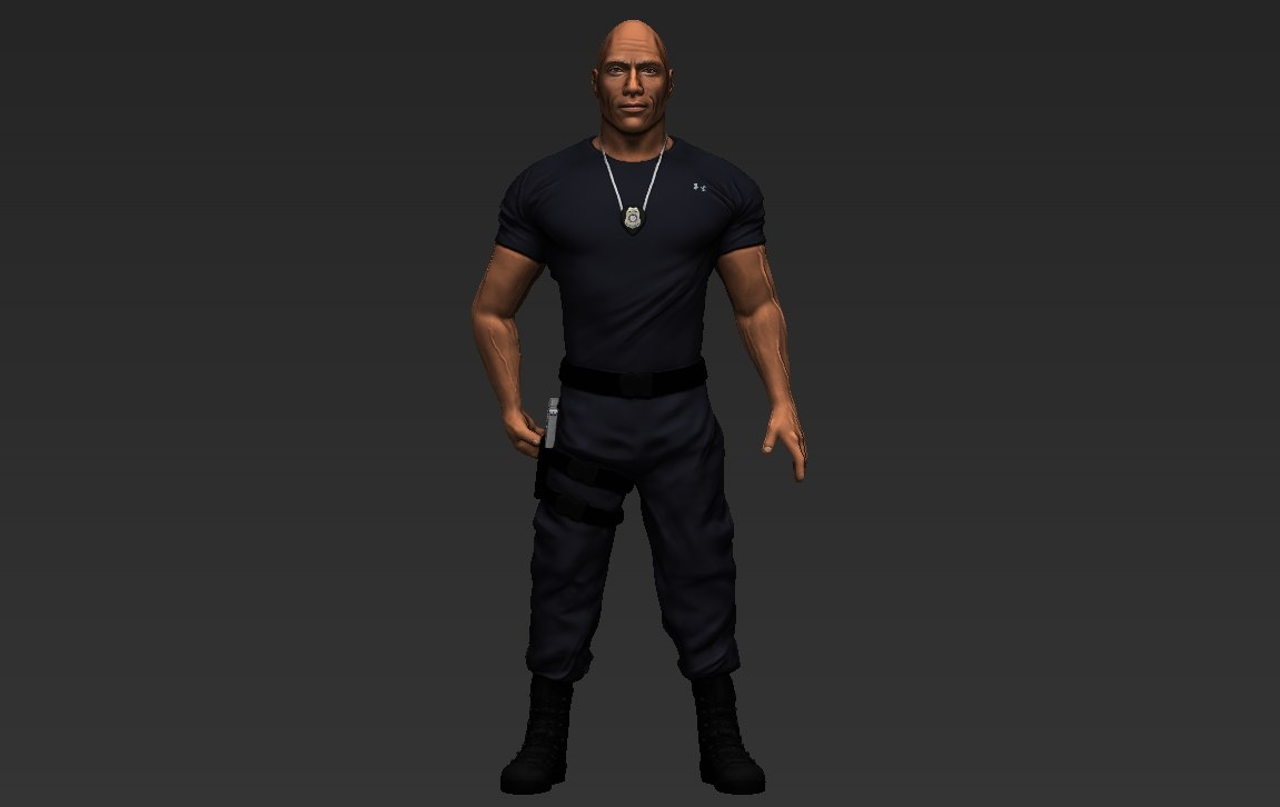 dwayne rock johnson fast 3D model