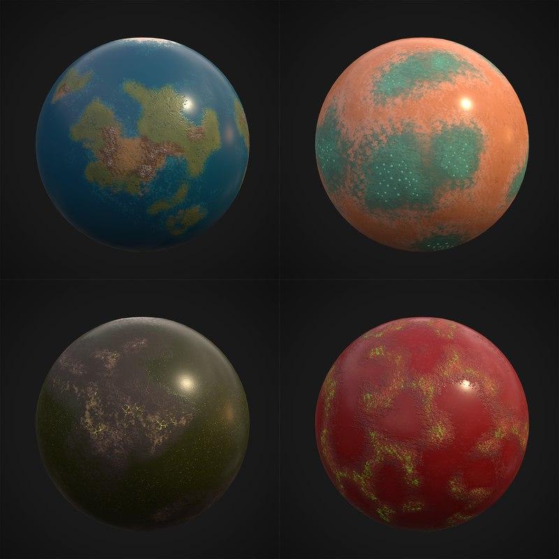 stylized planets 02 3D model