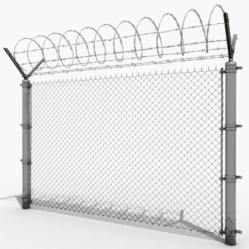 Barbed wire fence 3D model - TurboSquid 1230652