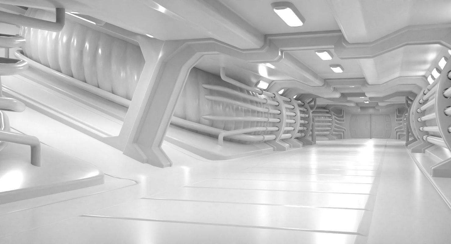 scifi modular hallway 3D