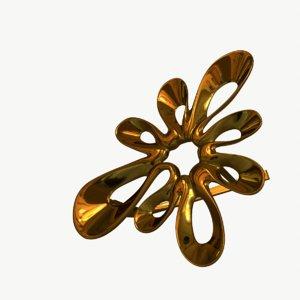 gold earrings 3D model