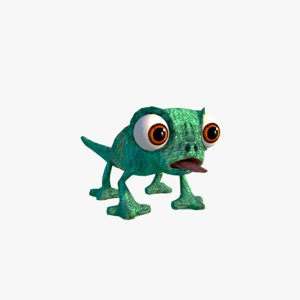 lizard cartoon character 3D model