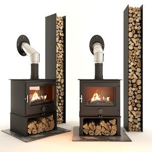 3D fireplace firewood wood model