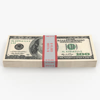 3D 100 dollar bills pack