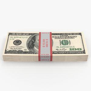 3D 100 dollar bills pack