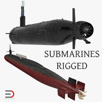american military submarines rigged 3D model
