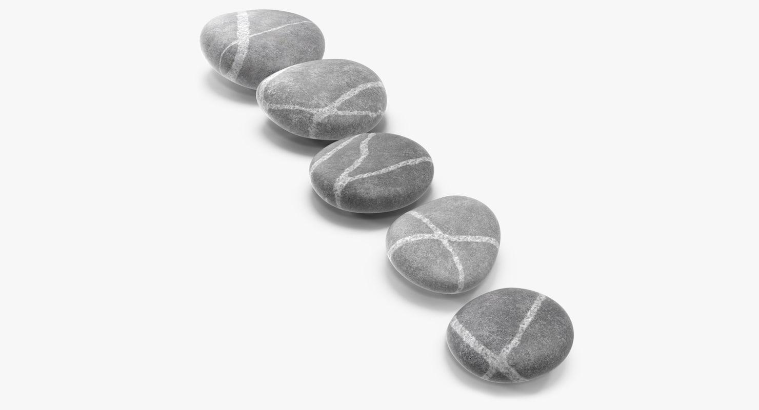 beach stones quartz veins 3D model