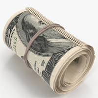 cash roll dollar bills 3D