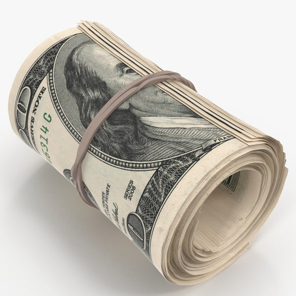 cash roll dollar bills 3D