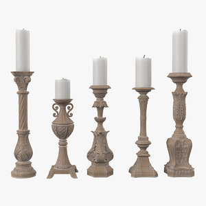 3D model tuscan-wash candlesticks