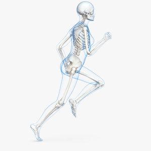 female body skeleton running 3D