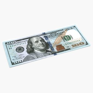 new 100 dollar bill 3D model