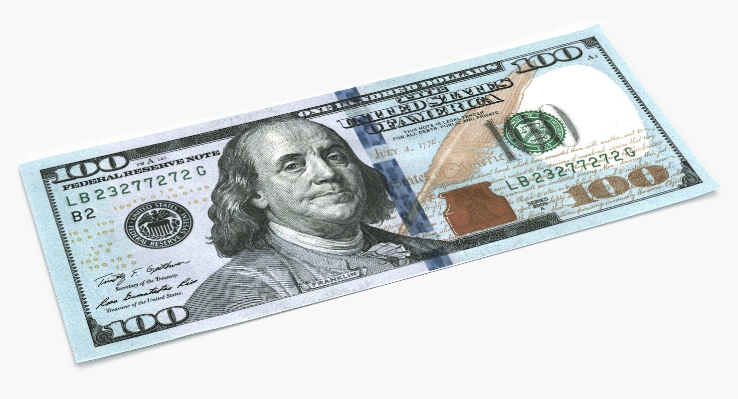 new 100 dollar bill 3D model