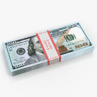new 100 dollar bills 3D