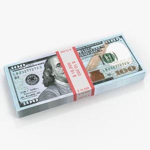 new 100 dollar bills 3D