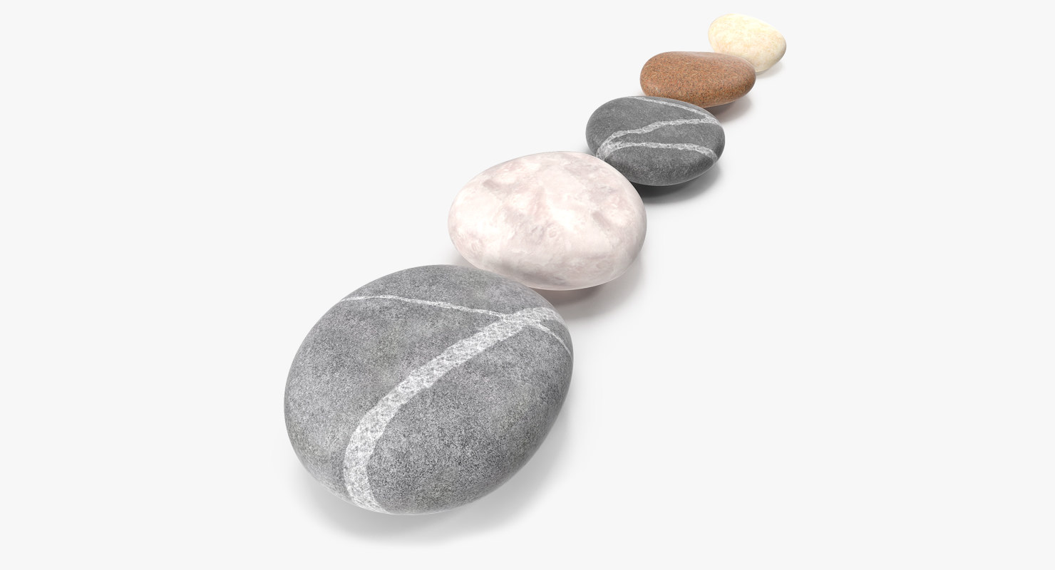 3D model stones design colors