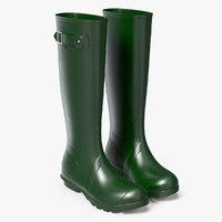 3D tall rain boots green