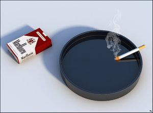 pack cigarettes ashtray 3D