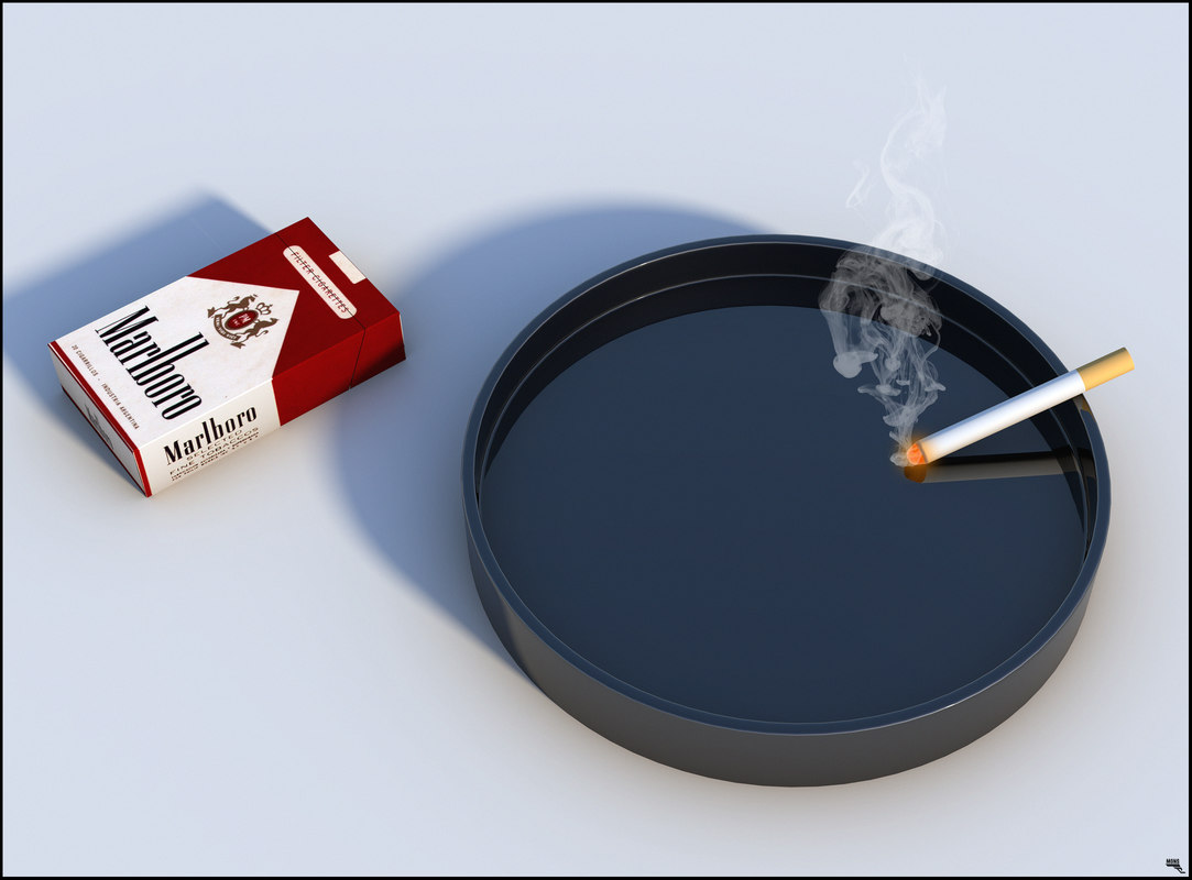 pack cigarettes ashtray 3D