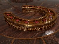 Horseshoe with ruby and gold