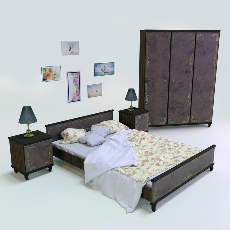 3D model set bedroom
