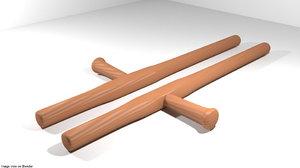 sticks wooden 3D model