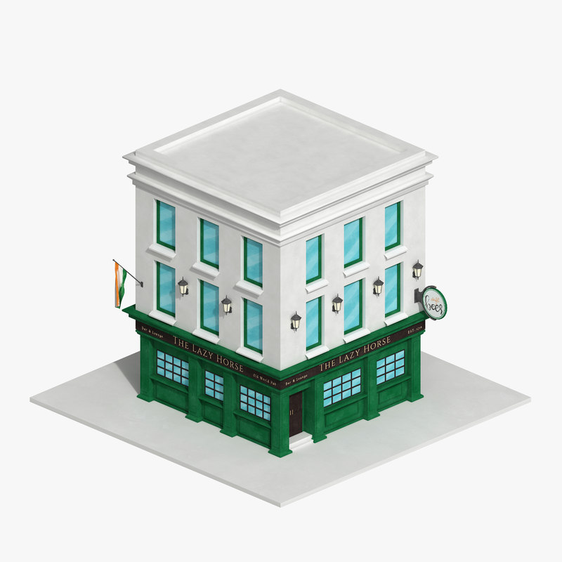 3D irish pub building