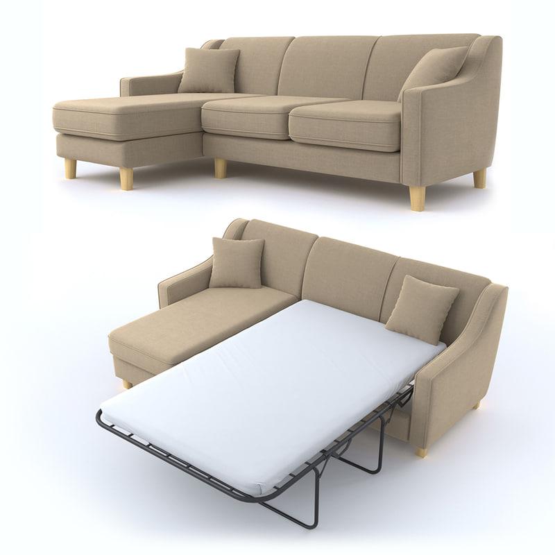 3D halston sofa 3 corner model