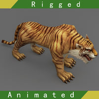 tiger rigged animations 3D