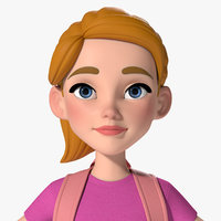 3D model mia cartoon girl kid