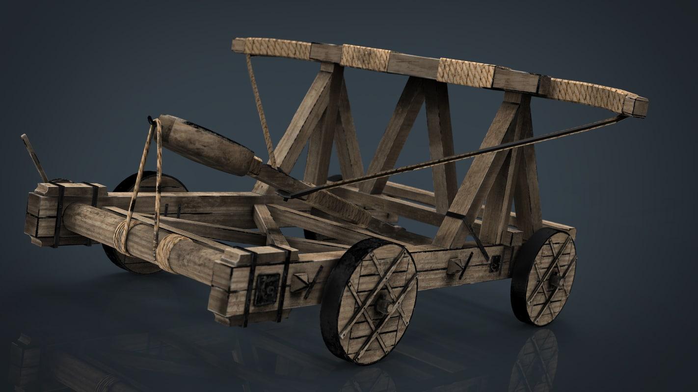3D model medieval catapult