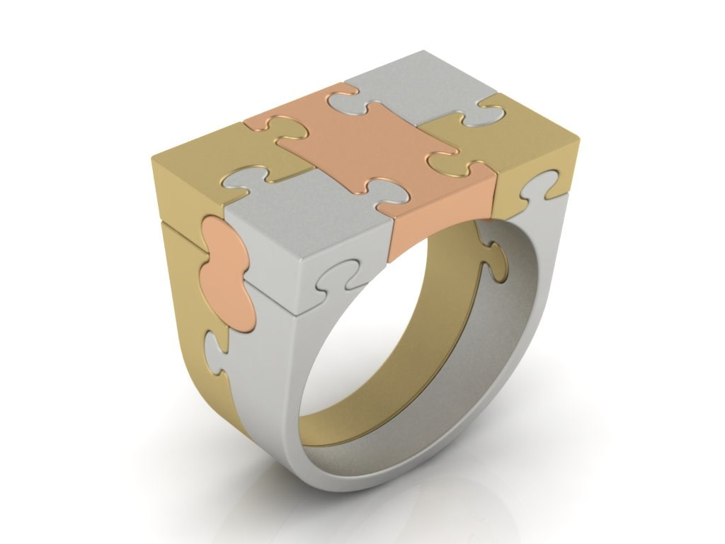 3D ring gold silver