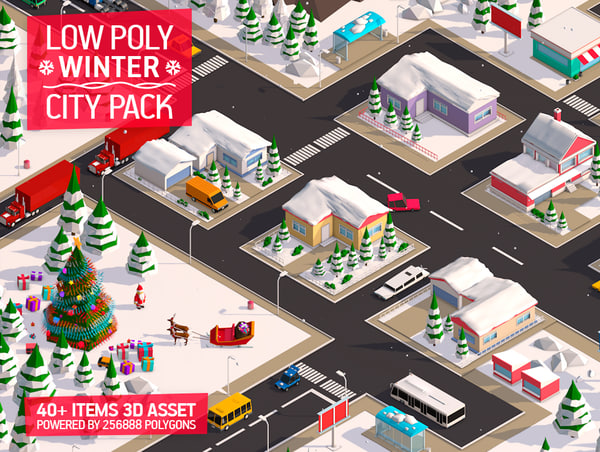 cartoon christmas city pack model