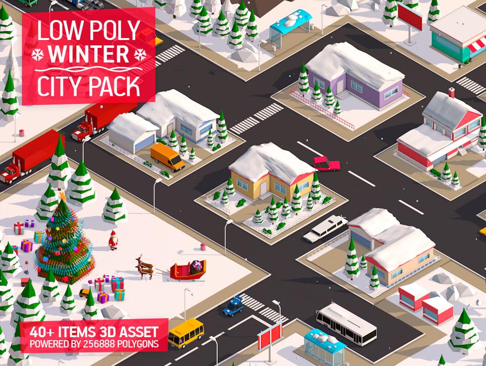 cartoon christmas city pack model