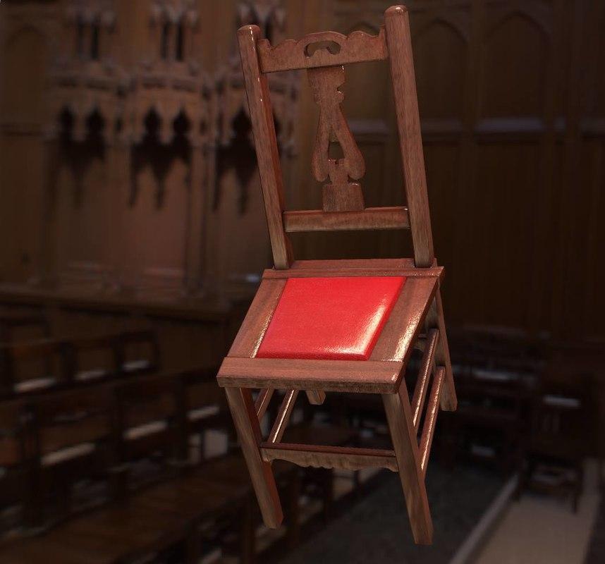 3D format wooden chair model
